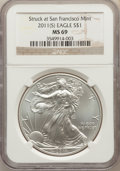 Modern Bullion Coins, 2011-(S) $1 Silver Eagle, Stuck at San Francisco MS69 NGC. NGC Census: (102717/14341). PCGS Population: (5558/2622). ...