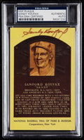 Autographs:Post Cards, Signed Sandy Koufax Gold Hall of Fame Plaque Post Card PSA/DNA Authentic. ...