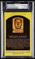 Autographs:Post Cards, Signed Joe DiMaggio Hall of Fame Plaque Postcard PSA/DNA Authentic. ...