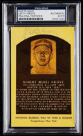 Autographs:Post Cards, Signed Lefty Grove Hall of Fame Plaque Post Card PSA/DNA Authentic. ...
