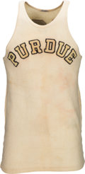 Basketball Collectibles:Uniforms, 1930-32 John Wooden Game Worn Purdue Boilermakers Jersey, MEARS A9.. ...