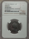 1773 1/2 P Virginia Halfpenny, No Period -- Environmental Damage -- Details NGC. VF. NGC Census: (5/66). PCGS Population...
