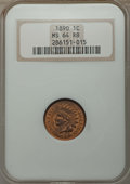 Indian Cents: , 1890 1C MS64 Red and Brown NGC. NGC Census: (216/77). PCGS Population: (321/57). CDN: $250 Whsle. Bid for problem-free NGC/...
