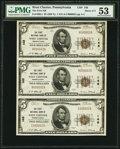 National Bank Notes:Pennsylvania, West Chester, PA - $5 1929 Ty. 1 The First NB Ch. # 148, UncutStrip of Three.. ...