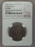 1787 Connecticut Copper, Draped Bust Left, Fine 15 NGC. NGC Census: (33/412). PCGS Population: (81/500). From The Maume...
