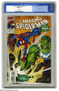 The Amazing Spider-Man #381 (Marvel, 1993) CGC NM- 9.2 White pages. Hulk crossover. Mark Bagley cover and art. Overstree...