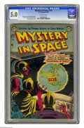 Golden Age (1938-1955):Science Fiction, Mystery in Space #13 (DC, 1953) CGC VG/FN 5.0 Off-white pages.Murphy Anderson cover. Anderson and Alex Toth art.Overstreet ...