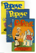 Golden Age (1938-1955):Cartoon Character, Popeye Group (Dell, 1948-51) Condition: Average VG. Fifteen-issue group lot includes Popeye #3, 6 (FR, coupon cut from b... (15 Comic Books)