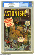 """Silver Age (1956-1969):Horror, Tales to Astonish #11 (Marvel, 1960) CGC VG+ 4.5 Off-white pages.Jack Kirby and Steve Ditko art. CGC notes: """"Date stamp on ..."""