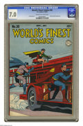 Golden Age (1938-1955):Superhero, World's Finest Comics #30 (DC, 1947) CGC FN/VF 7.0 Cream to off-white page. Johnny Everyman appearance. Jack Burnley cover. ...