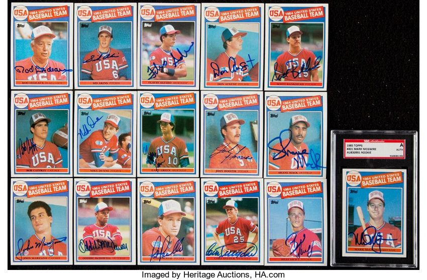 Signed 1985 Topps Team Usa Team Set 16 With Mark Mcgwire