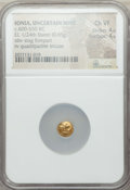 Ancients:Greek, Ancients: IONIA. Uncertain Mint. Ca. 600-550 BC. EL 1/24 stater ormyshemihecte (0.65 gm). NGC Choice VF 4/5 - 4/5....