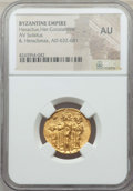 Ancients:Byzantine, Ancients: Heraclius (AD 610-641), with Heraclius Constantine andHeraclonas as Caesar. AV solidus. NGC AU....