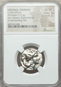 Ancients:Greek, Ancients: LUCANIA. Thurium. Ca. 350-300 BC. AR stater (7.71 gm).NGC Choice VF 4/5 - 3/5....