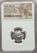 Ancients:Greek, Ancients: IONIA. Miletus. Ca. early 3rd century BC. AR drachm (4.18gm). NGC Choice XF 5/5 - 4/5....