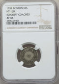 Medals and Tokens, 1837 Roxbury Coaches Token, Boston, Massachusetts, HT-169, XF45NGC....