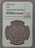 Morgan Dollars, 1890-CC $1 Fine 15 NGC. NGC Census: (102/6522). PCGS Population: (177/12564). Mintage 2,309,041. . From the Maumee Val...