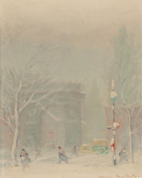 Johann Berthelsen (American, 1883-1972) Washington Square Park Oil on canvasboard 10 x 8 inches (