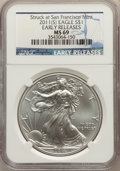 Modern Bullion Coins, 2011-(S) $1 Silver Eagle, Struck at San Francisco, Early Releases, MS69 NGC. PCGS Population: (13687/227...