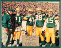 Football Collectibles:Photos, 1993 Green Bay Packers Captains Display Presented to Honorary Captain Fuzzy Thurston - 1st Lambeau Leap Game!...