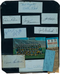 Football Collectibles:Others, 1960's Green Bay Packers Signed Cut Signatures Display With Lombardi, Travis Williams, etc....