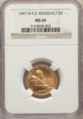 Modern Issues, 1997-W $5 Franklin D. Roosevelt Gold Five Dollar MS69 NGC. NGC Census: (401/481). PCGS Population: (1632/238)....