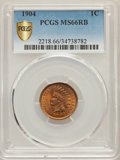 Indian Cents, 1904 1C MS66 Red and Brown PCGS Secure. PCGS Population: (6/0). NGC Census: (16/1). Mintage 61,328,016....