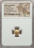 Ancients:Greek, Ancients: IONIA. Erythrae. Ca. 550-500 BC. EL sixth stater or hecte(2.61 gm). NGC AU 4/5 - 4/5....
