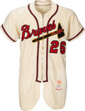 Baseball Collectibles:Uniforms, 1956 Milwaukee Braves Game Worn Jersey & 1955 Matching Pants.....