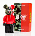 Fine Art - Sculpture, American:Contemporary (1950 to present), BE@RBRICK X BAPE. 1st Camo Shark 400% (Red), 2016. Painted cast vinyl. 10-1/2 x 5-1/4 x 3-1/2 inches (26.7 x 13.3 x 8.9 ...