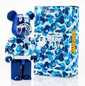 Fine Art - Sculpture, American:Contemporary (1950 to present), BE@RBRICK X BAPE. Camo Shark Hoodie 400% (Blue), 2015.Painted cast vinyl. 10-1/2 x 5-1/4 x 3-1/2 inches (26.7 x 13.3 x...
