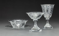 Eight-Pieces of Steuben Clear Glass Strawberry Mansion Stemware Circa 1935. Engr