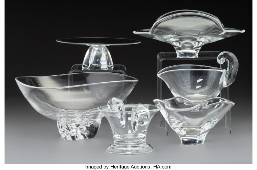 183f6f934cc4 Six Steuben Clear Glass Table Articles. 20th century.