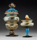 Art Glass:Other , Two Steuben Amber Glass Lidded Compotes with Applied Designs. Circa1915. Ht. 10-3/4 in. (taller). ... (Total: 4 Items)
