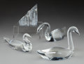 Glass, Four Steuben Clear Glass Swans with Star Paperweight. 20th century. Engraved Steuben; LDA. Ht. 5 in. (tallest, swan). ... (Total: 5 Items)