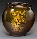Ceramics & Porcelain, American:Modern  (1900 1949)  , Rookwood Standard Glaze Leopard Vase Decorated by EdwardHurley. Circa 1902. Stamped (Rookwood cipher-II), 707, ...