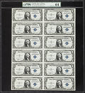 Small Size:Silver Certificates, Fr. 1611 $1 1935B Silver Certificates. Uncut Sheet of Twelve. PMG Choice Uncirculated 64.. ...