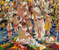 Fine Art - Painting, American, John E. Costigan (American, 1888-1972). The Bathers. Oil oncanvas. 34-1/4 x 40 inches (87.0 x 101.6 cm). Signed lower l...