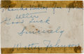 Baseball Collectibles:Others, 1930's Walter Johnson Signed Cut Signature. . ...