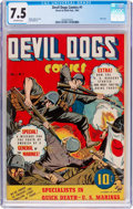 Golden Age (1938-1955):War, Devil Dogs #1 (Street & Smith, 1942) CGC VF- 7.5 Off-white pages....