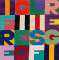 Post-War & Contemporary:Contemporary, Alighiero Boetti (1940-1994). I fregi e gli sfregi, 1989. Embroidery on canvas. 8-3/4 x 8-3/4 inches (22.2 x 22.2 cm). S...