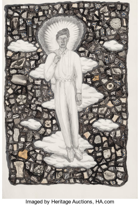 Alison Saar (b. 1956)Cloud 9, 1990Pencil and watercolor with collage on paper43-3/4 x 30 inches (111.1 x 76.2 cm) ...