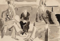 Fine Art - Work on Paper:Watercolor, Ernst Ludwig Kirchner (1880-1938). Unterhaltung, circa 1922.Ink wash and pencil on paper. 14-1/4 x 20 inches (36.2 x 50...