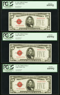 Small Size:Legal Tender Notes, Fr. 1531 $5 1928F Legal Tender Notes. Three Consecutive Examples. PCGS Gem New 65PPQ.. ... (Total: 3 notes)