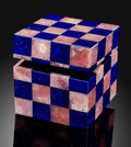 Lapidary Art:Boxes, Rhodochrosite & Lapis Box. Stone Source: Argentina & Afghanistan. ...