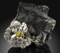 Minerals:Cabinet Specimens, Ferberite with Arsenopyrite & Chalcopyrite. PanasqueiraMines, Covilhã. Castelo Branco District.Portugal. ...