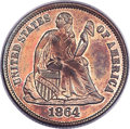 Patterns, 1864 10C Ten Cents, Judd-381, Pollock-449, R.7, PR64 Red and Brown PCGS....