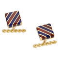Estate Jewelry:Cufflinks, Enamel, Gold Cufflinks, Carvin French. ...