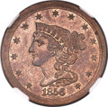 Patterns, 1856 E1/2C Half Cent, Judd-177, Pollock-205, R.5, PR64 NGC....