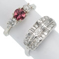 Estate Jewelry:Rings, Pink Tourmaline, Diamond, White Gold Rings. ... (Total: 2 Items)